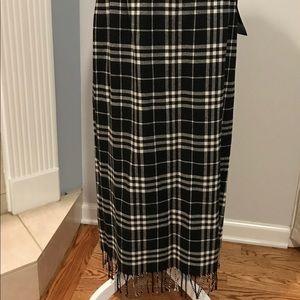 Vintage 90's Maxi Wool Plaid Skirt Fringe Long NWT